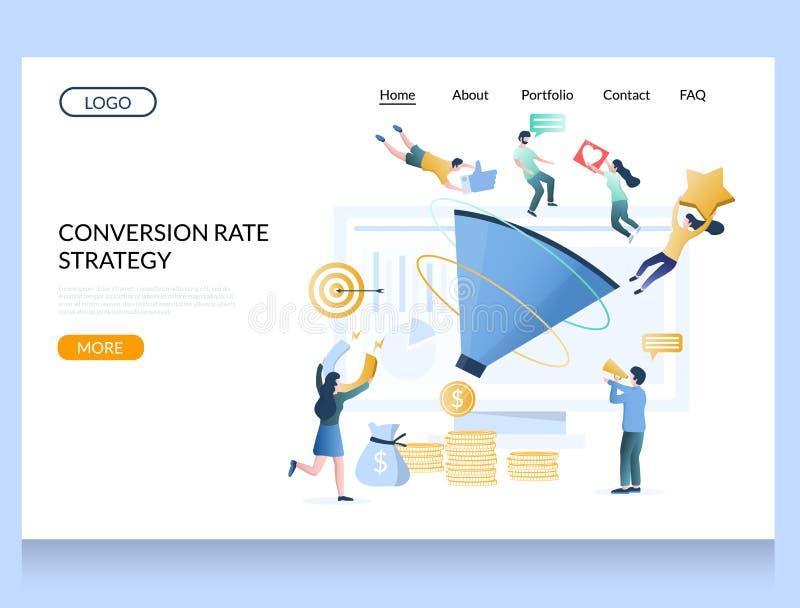 Plantilla de diseño de página de inicio del sitio web de la estrategia de conversión ilustración del vector