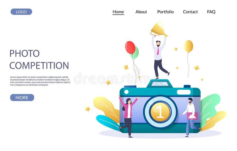 Plantilla de diseño de página de inicio del sitio web del vector de la competencia de fotografía stock de ilustración