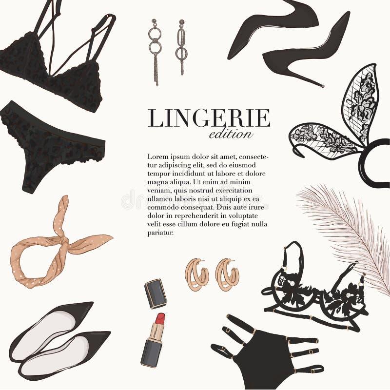 Plantilla de doodle dibujado a mano con ropa interior de lencería: sujetador, bralete, conjunto undies, tacones, cosmetens mujer  ilustración del vector