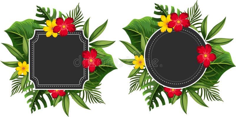 Plantilla de dos fronteras con las flores amarillas y rojas stock de ilustración