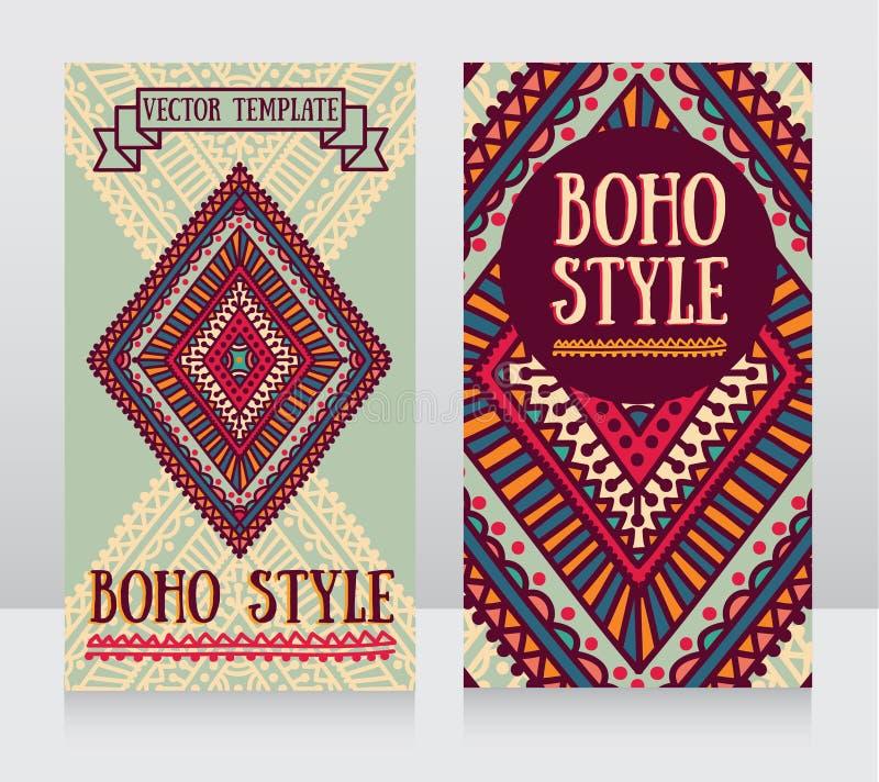Plantilla de dos tarjetas de visita para el estilo del boho ilustración del vector