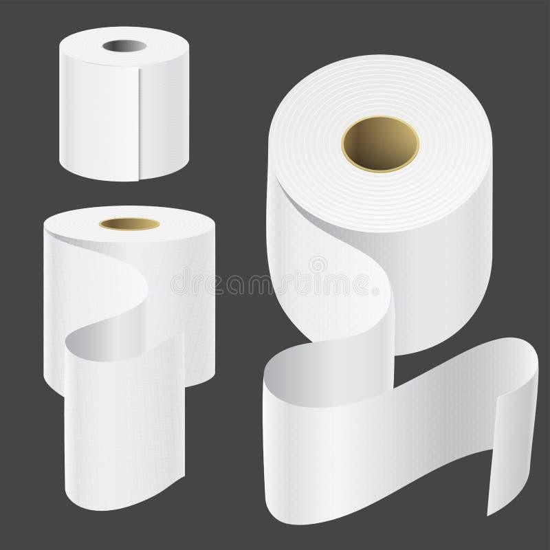 Plantilla de empaquetado blanca aislada instalada de papel realista de la toalla de cocina 3d del espacio en blanco del ejemplo d stock de ilustración