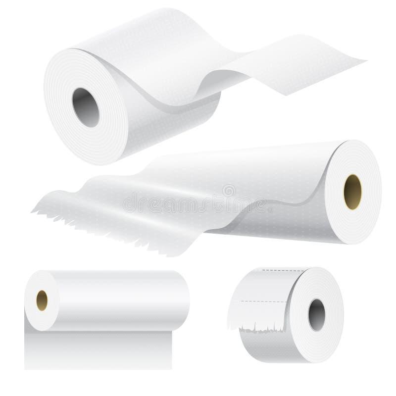 Plantilla de empaquetado blanca aislada instalada de papel realista de la toalla de cocina 3d del espacio en blanco del ejemplo d ilustración del vector