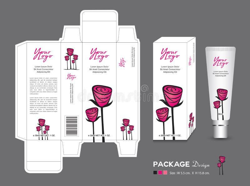 Plantilla de empaquetado de la belleza, cosméticos de la caja 3d, diseño de producto, Rose Packaging, productos sanos, disposició stock de ilustración