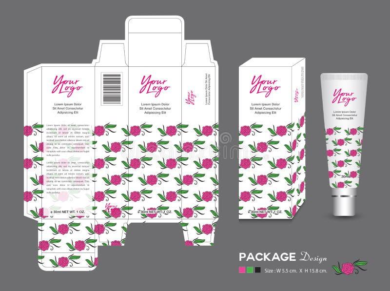Plantilla de empaquetado de la belleza, cosméticos de la caja 3d, diseño de producto, Rose Packaging, productos sanos, disposició ilustración del vector