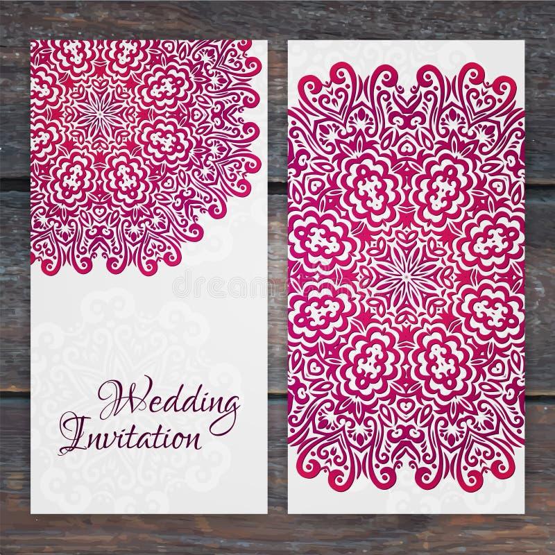 Plantilla de encaje de la invitación de boda del vector Invi romántico de la boda del vintage stock de ilustración