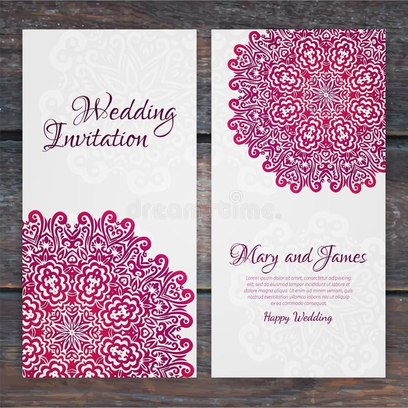 Plantilla de encaje de la invitación de boda del vector Invi romántico de la boda del vintage ilustración del vector