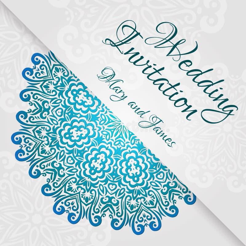 Plantilla de encaje de la invitación de boda Invitación romántica de la boda del vintage Ornamento floral del círculo abstracto stock de ilustración