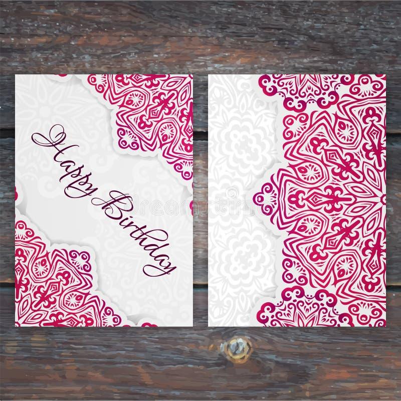 Plantilla de encaje de la tarjeta de cumpleaños del vector Inv romántico de la boda del vintage libre illustration