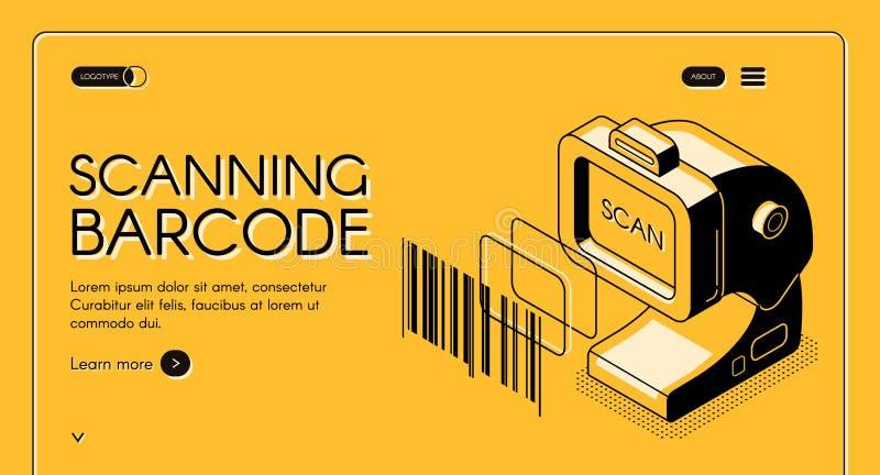 Plantilla de exploración del vector de la página web del servicio del código de barras ilustración del vector
