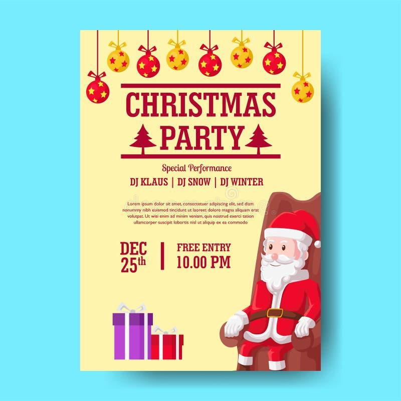 Plantilla de fiesta navideña con diseño plano con ilustración de santa claus siéntese y presente caja bauble ilustración del vector