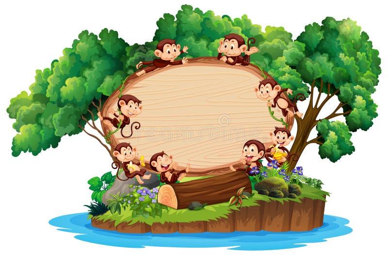 Plantilla de frontera con muchos monos en la isla imagen de archivo libre de regalías