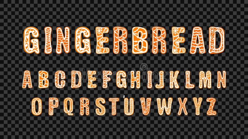 Plantilla de fuente de caracol de Gingerbread Vector, Cartas Coloridas, Cartas Cutas Dibujadas A Mano, Celebración De Navidad, Tà libre illustration