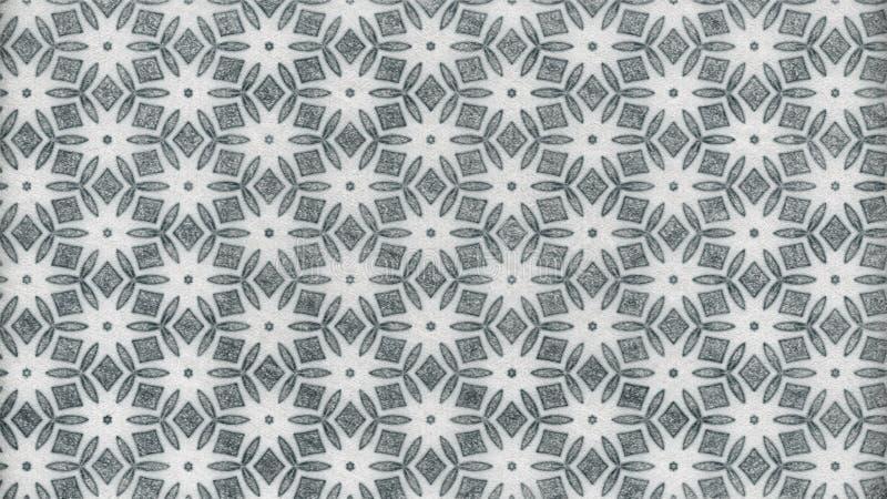 Plantilla de Gray Floral Geometric Pattern Wallpaper stock de ilustración