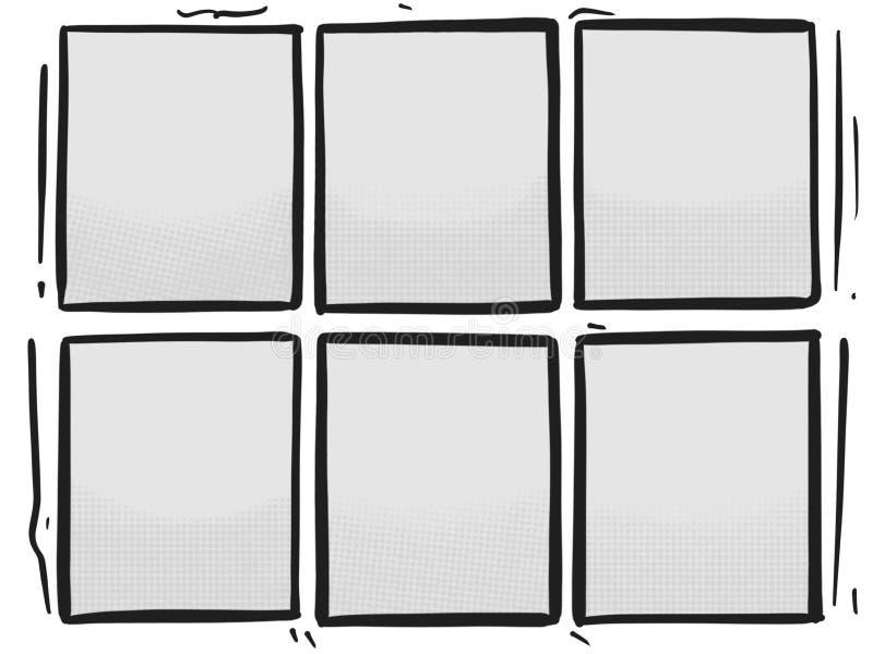 Plantilla de Grey Panels Box Halftone Cartoon de la historieta seis ilustración del vector