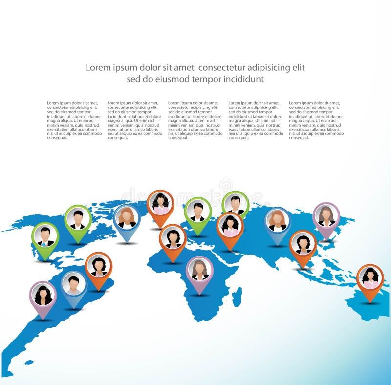 Plantilla de hombres de negocios en el mapa del mundo. ilustración del vector