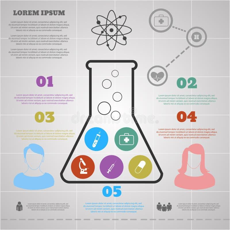 Plantilla de Infographic con ciencia de la silueta y de los iconos del frasco ilustración del vector
