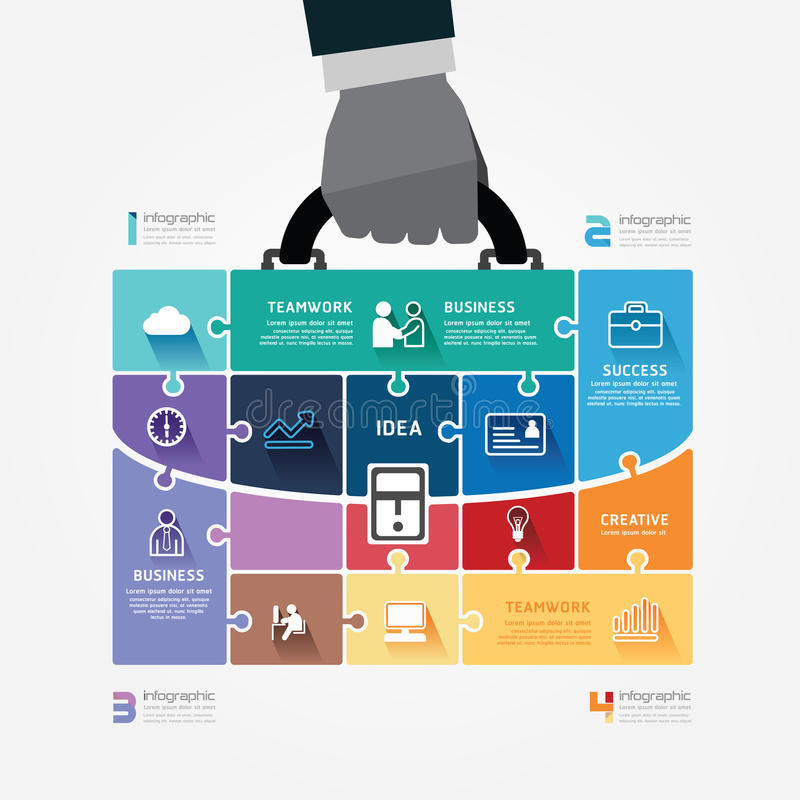 Plantilla de Infographic con el bolso del control de la mano del hombre de negocios  stock de ilustración