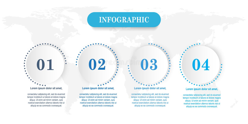 Plantilla de Infographic con el ejemplo del negocio de 4 pasos libre illustration