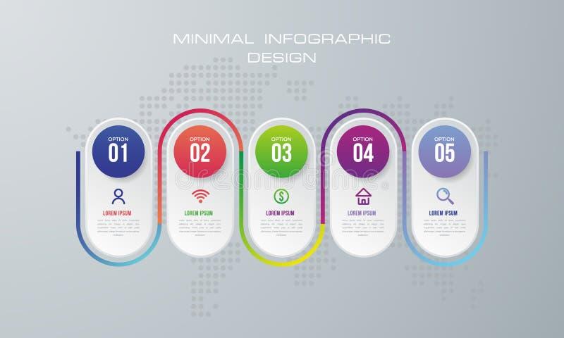 Plantilla de Infographic con 5 opciones libre illustration