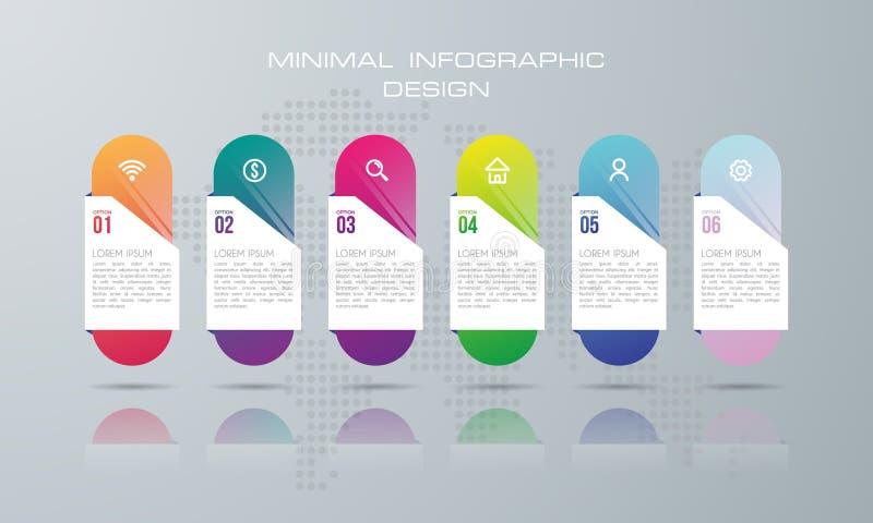 Plantilla de Infographic con 6 opciones, ilustración del vector