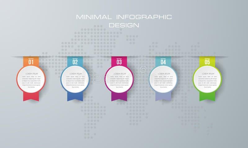 Plantilla de Infographic con 5 opciones, ilustración del vector