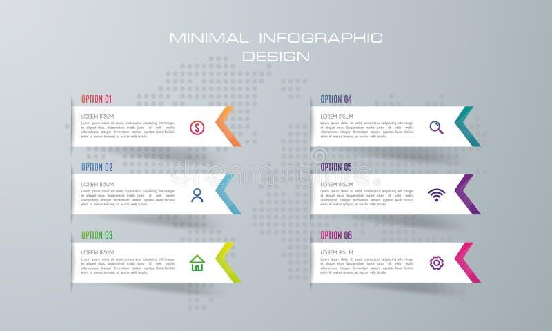 Plantilla de Infographic con 6 opciones, stock de ilustración
