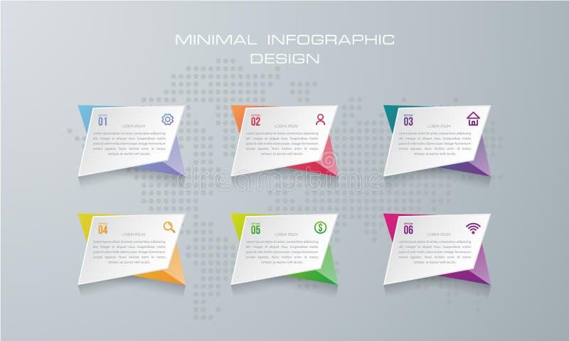 Plantilla de Infographic con 6 opciones, libre illustration