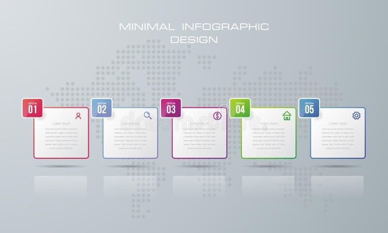 Plantilla de Infographic con 5 opciones, stock de ilustración