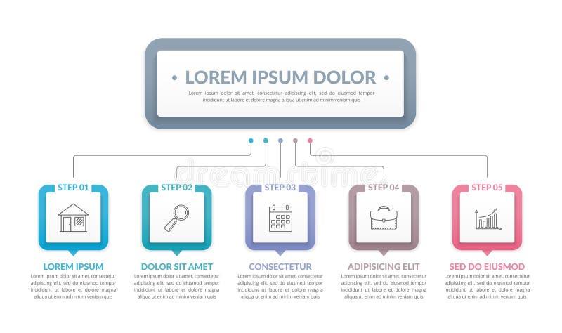 Plantilla de Infographic con 5 pasos ilustración del vector