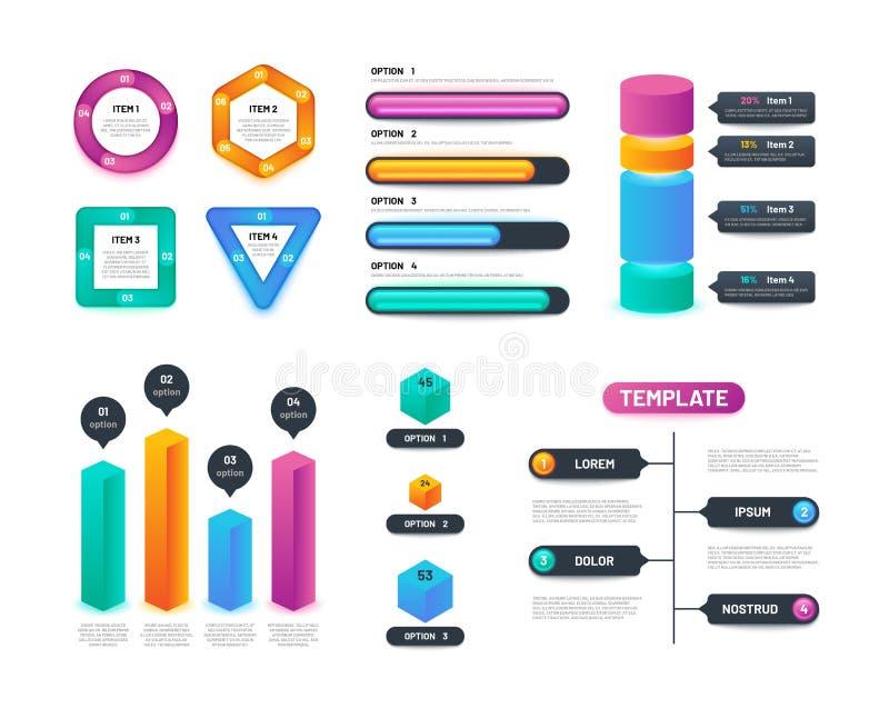 Plantilla de Infographic 3d Cartas, gráficos y diagramas de negocio con opciones y pasos Disposición de Infographics del vector stock de ilustración