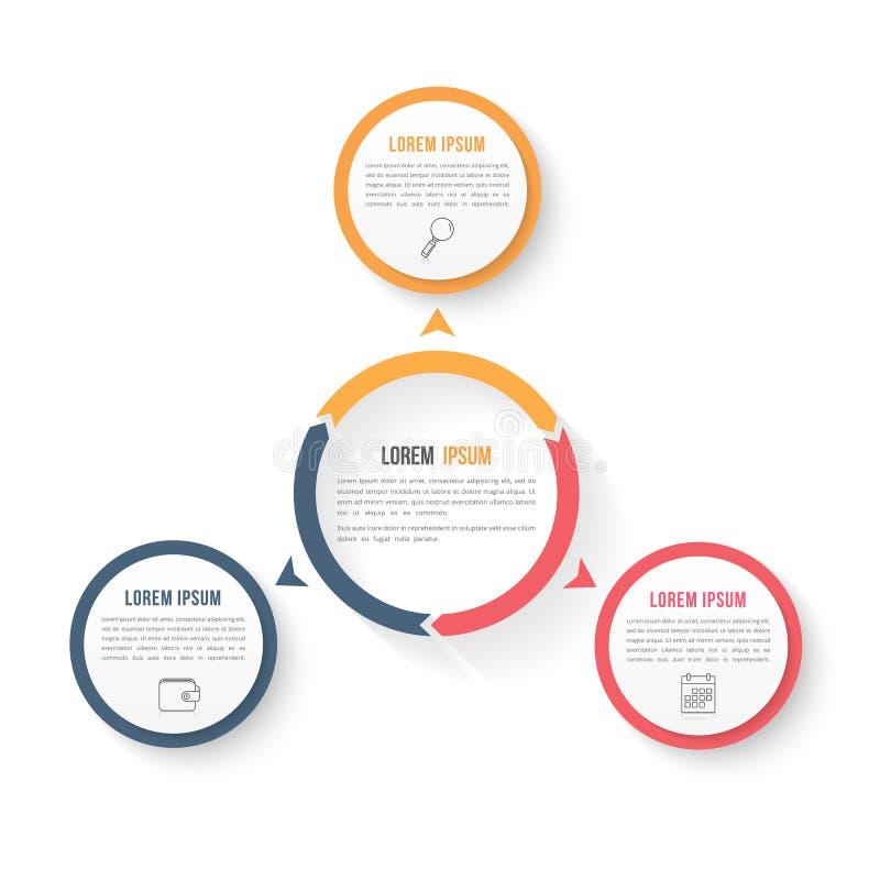 Plantilla de Infographic del círculo con tres elementos stock de ilustración