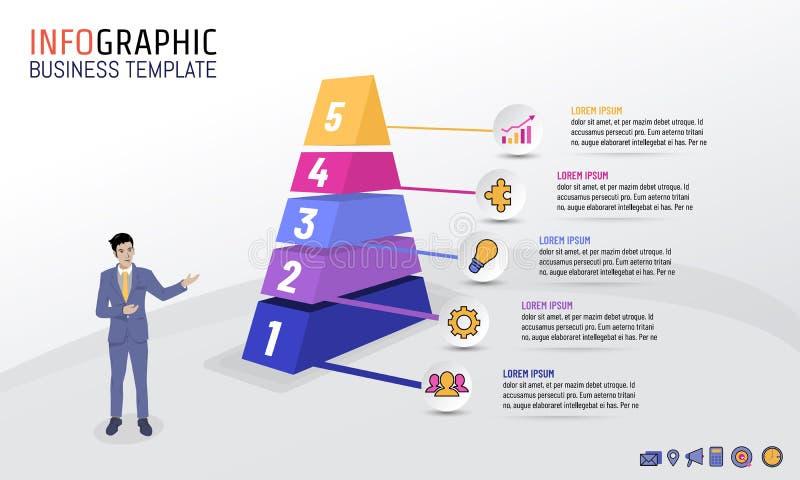 Plantilla de Infographic del negocio de la pirámide con 5 pasos, opciones, ejemplo del vector stock de ilustración
