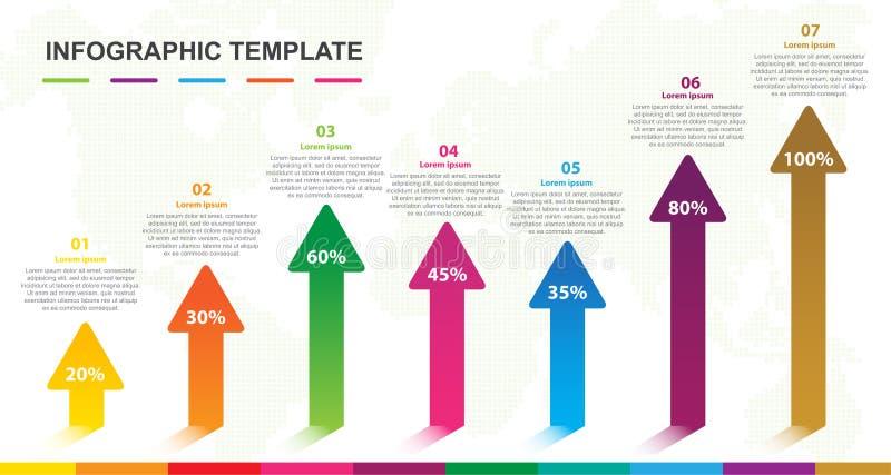 Plantilla de Infographic para el negocio Elemento moderno de 5 pasos con la flecha del gráfico de barra stock de ilustración