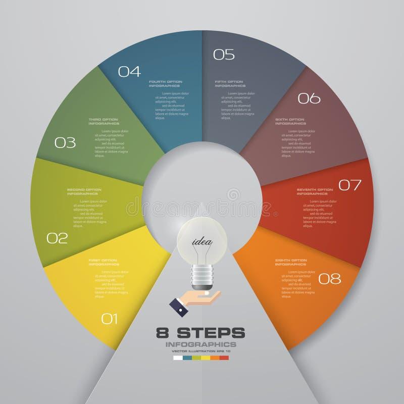 Plantilla de Infographics del círculo Disposición del vector con 8 opciones stock de ilustración