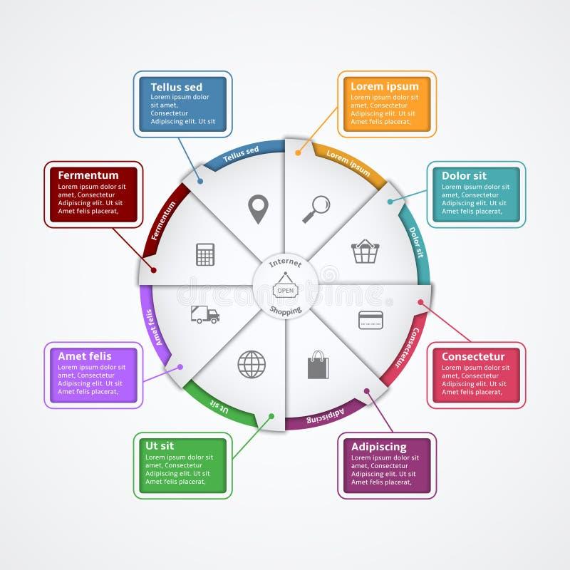 Plantilla de Infographics del papel de las compras de Internet stock de ilustración
