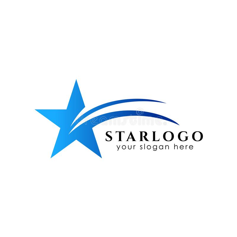plantilla de la acción del diseño del logotipo de la estrella que vuela Icono del vector de la estrella stock de ilustración