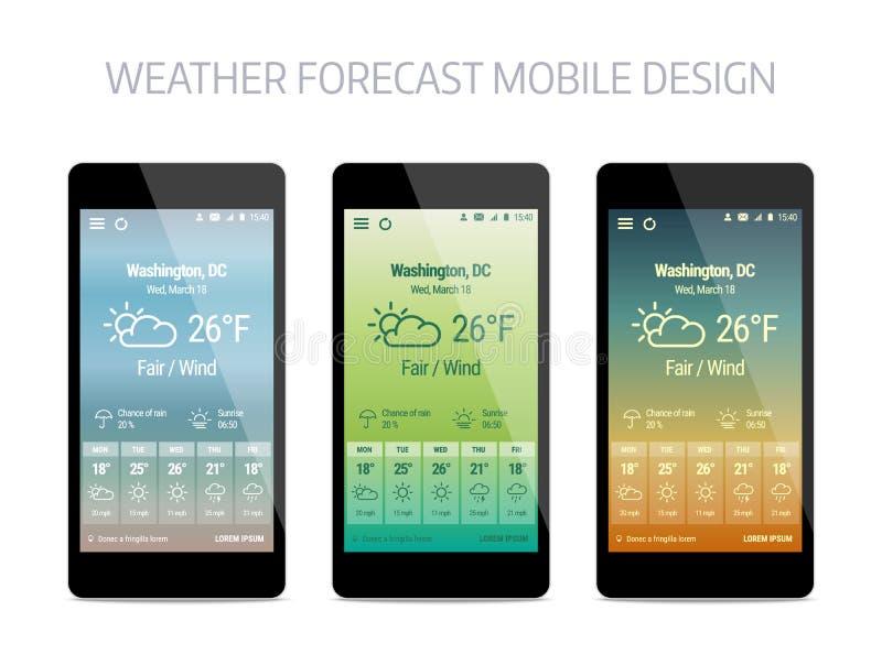 Plantilla de la aplicación móvil del forcast del tiempo stock de ilustración