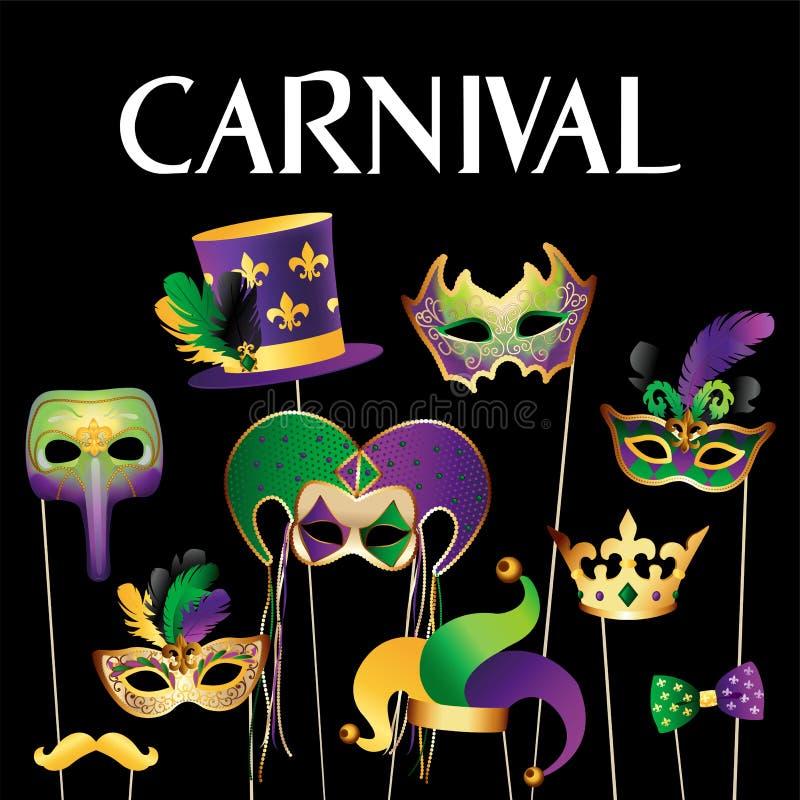 Plantilla de la bandera con las máscaras de oro del carnaval en fondo negro Frontera festiva de la celebración que brilla Ilustra libre illustration