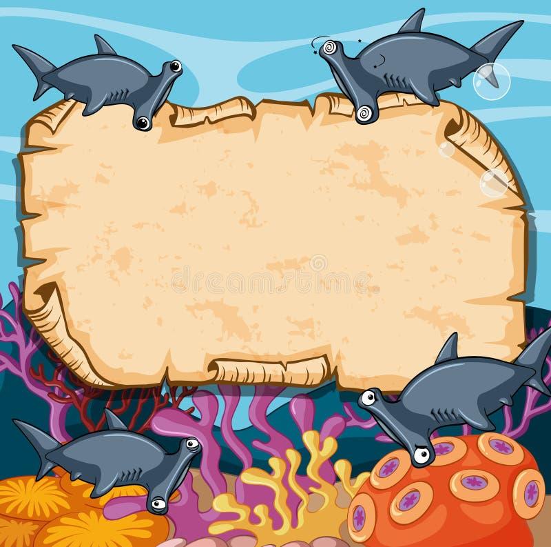 Plantilla de la bandera con los tiburones de hammerhead libre illustration
