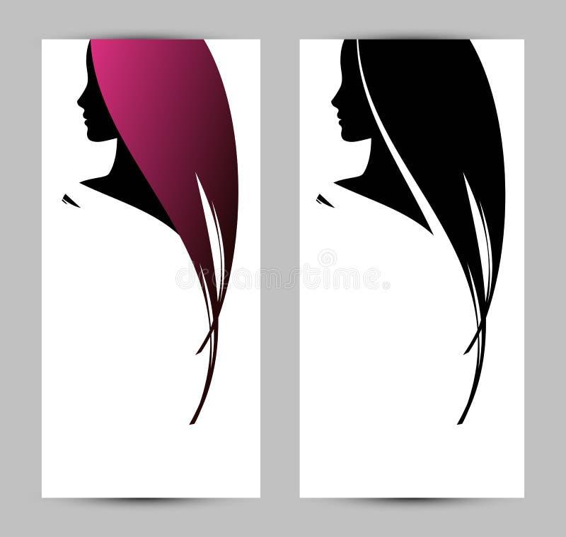 Plantilla de la bandera con perfil femenino ilustración del vector