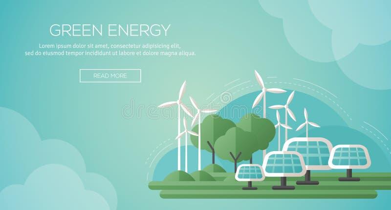 Plantilla de la bandera del concepto de la ecología en diseño plano stock de ilustración
