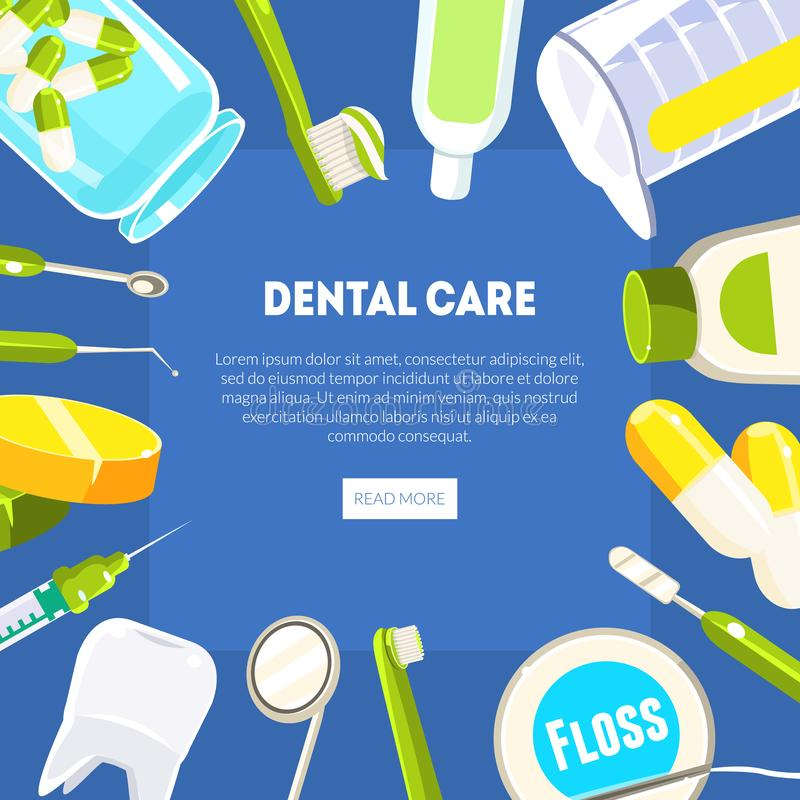Plantilla de la bandera del cuidado dental, dentista Tools y equipo, servicio dental de la clínica, página web móvil, diseño de a libre illustration