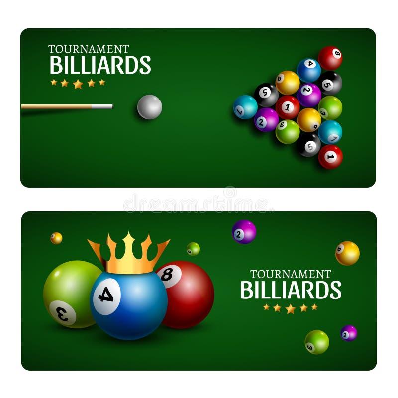 Plantilla de la bandera del juego del club del billar Diseño de la tabla verde de la piscina del billar Sala de billar del torneo ilustración del vector