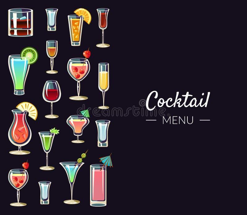 Plantilla de la bandera del menú del cóctel, bebidas alcohólicas, barra, restaurante, café, invitación del partido, tarjeta, vect ilustración del vector