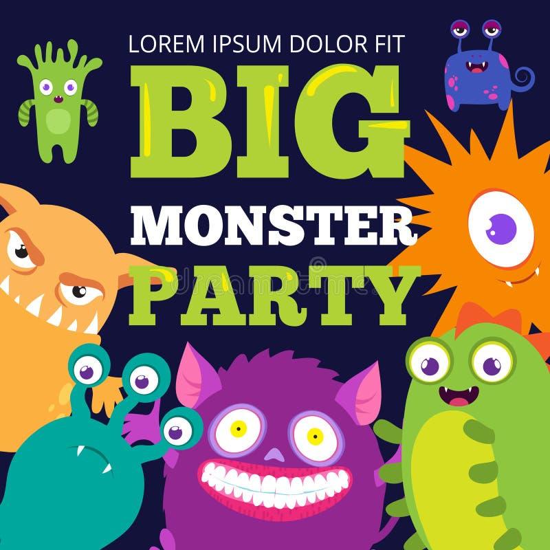 Plantilla de la bandera del partido del monstruo de Halloween con los personajes de dibujos animados lindos ilustración del vector