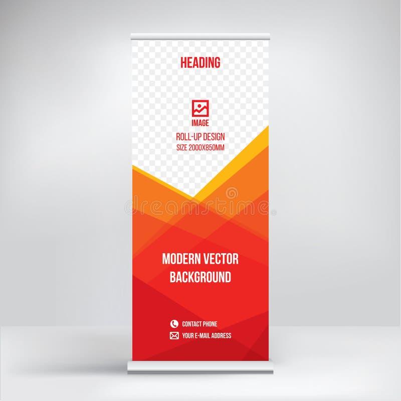 Plantilla de la bandera del rollo-para arriba, diseño del soporte para las exposiciones, presentaciones, seminarios, concepto mod stock de ilustración