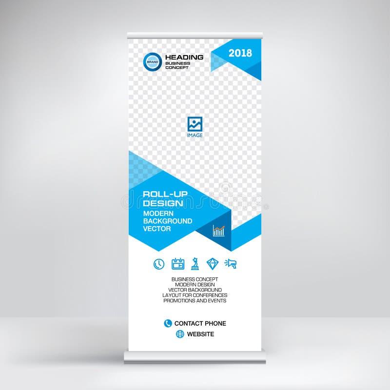Plantilla de la bandera del rollo-para arriba, diseño del soporte para las exposiciones, presentaciones, seminarios, concepto mod ilustración del vector
