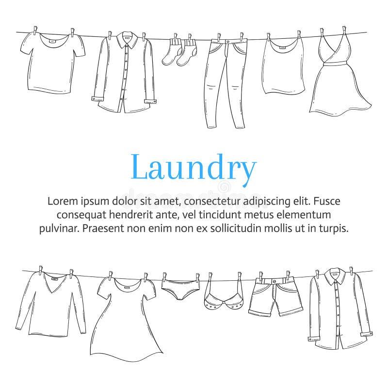 Plantilla de la bandera del servicio de lavadero con la ropa que cuelga en la cuerda para tender la ropa, bosquejo dibujado mano, ilustración del vector