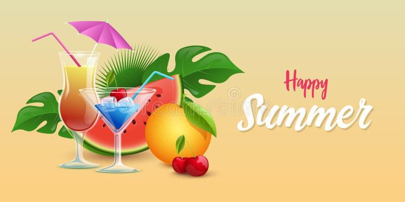 Plantilla de la bandera del vector de las bebidas del verano Cócteles tropicales adornados con los cubos de hielo, cereza fresca, ilustración del vector